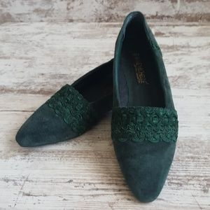 Anne Michelle Shoes - 💚Vintage Forrest Green Suede Leather Flats